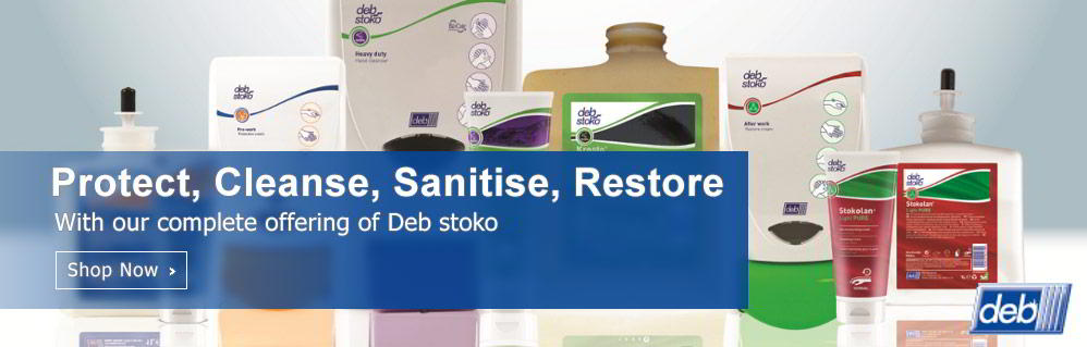 Protect, Cleanse, Sanitise, Restore with our complete offering of Deb stoko
