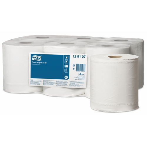 Tork Basic Centrefeed Paper 2ply White Roll (M2) 129107 Eco Label