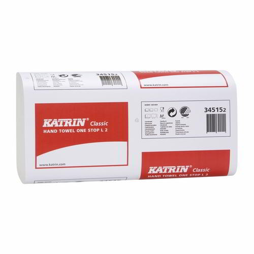 Katrin Classic Hand Towel One Stop L2  W-Fold 2Ply White 345152 Eco Label