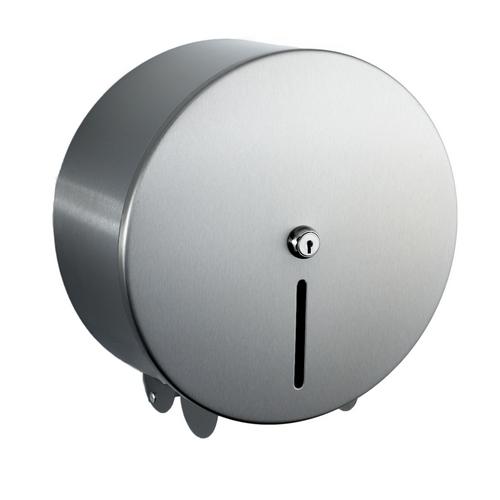 """Brushed Stainless Steel Mini Jumbo Toilet roll dispenser 10"""""""