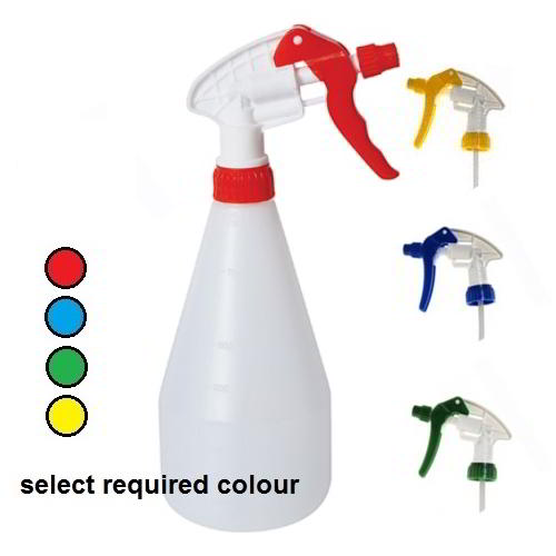 Colour coded spray bottles complete