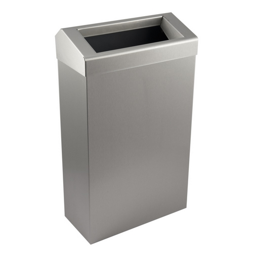 Brushed Stainless Steel 30Ltr Slim Line Wastebin with Chute Lid