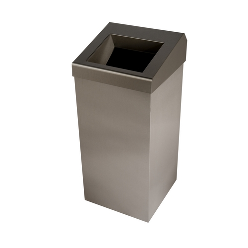 Brushed Stainless Steel 50 ltr Wastebin with Chute Lid