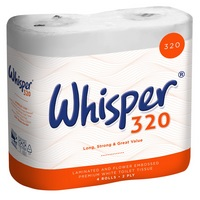 Whisper 320 sheet 2 ply toilet rolls (36)