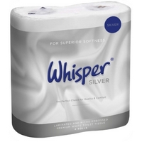Whisper Silver Luxury 2ply 10 x 4 roll pack toilet rolls 210sht (40)