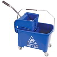 Microspeedy Flat mop Bucket Blue on Castors & Wringer