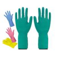 Household colour coded rubber gloves